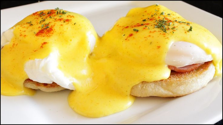 American breakfast dish eggs benedict! Poached eggs and Canadian bacon ...