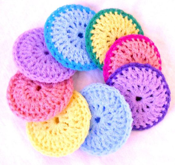 Crocheting Scrubbies : Crochet Nylon Dish Scrubbies - Set of 8 - Pastel Collection - Pot Scr ...