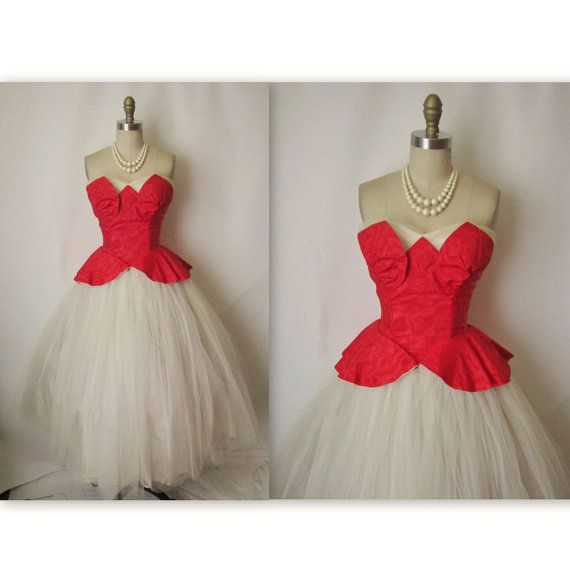 Dress vintage 1950 s strapless white red tulle wedding holiday