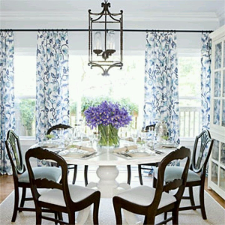 Blue and white dining