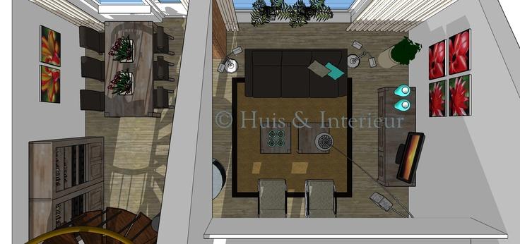 Bovenaanzicht woonkamer met vide  3D visuals (SketchUp)  Pinterest