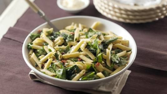Penne with Spinach, Olives and Sun-Dried Tomatoes | Recipe