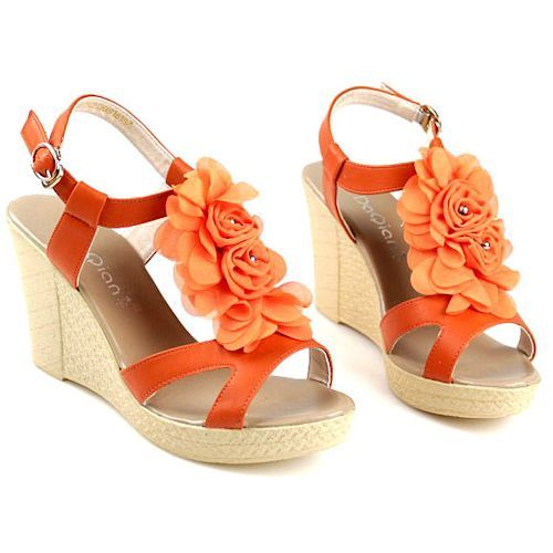 Orange Wedge Cocktail Party Pageant Prom Fashion Sandals Shoes Women