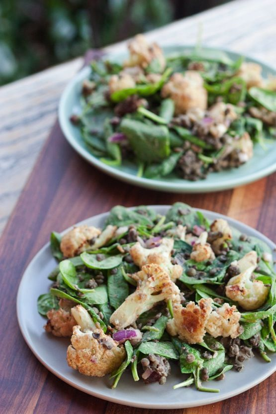 Roasted Cauliflower and Lentil Salad (vegan & gluten-free)