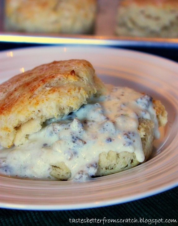 Flakey Buttermilk Biscuits and Sausage Gravy! {Tastes Better From ...