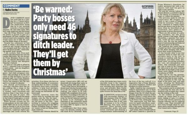 Oh Lordy... Dorries is really going for leadership? Please, Cthulhu no. No.