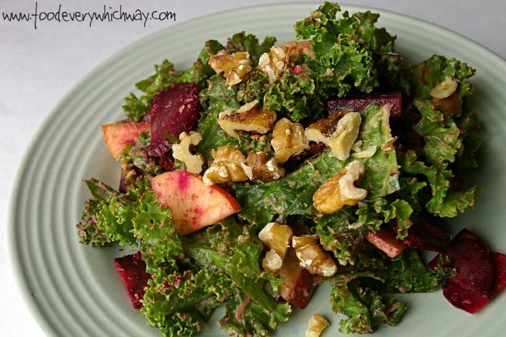 Kale Salad with Creamy Avocado Dressing. This dressing is seriously SO ...
