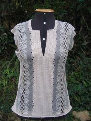 Blusa de renda tricô, sofisticada, linda!