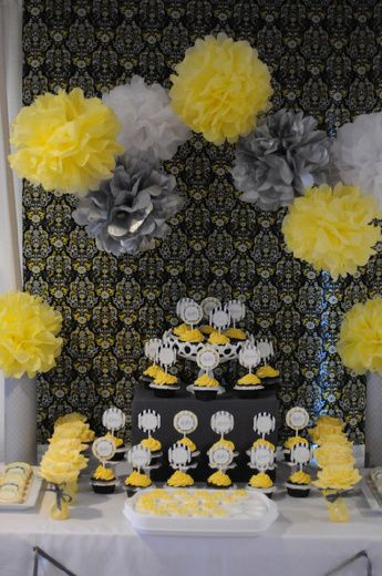 yellow and gray baby shower yellow and silver pom poms together