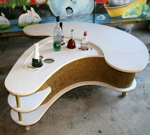 vtg kitsch grand server kidney shaped coffee table boomerang top mech. Black Bedroom Furniture Sets. Home Design Ideas