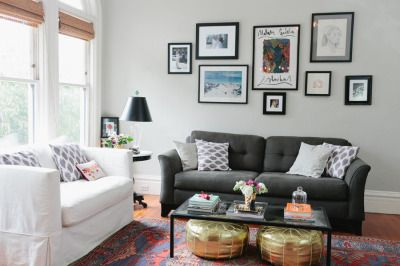 Living room with different color couches