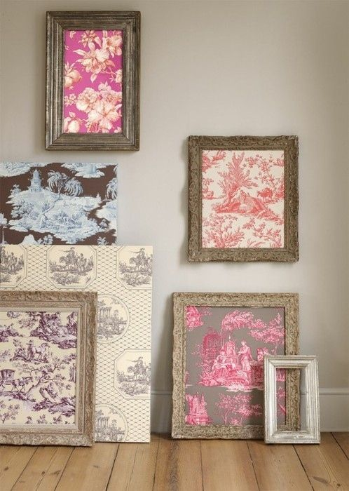 I'd like to do this for some meaningful fabrics and papers from my grandparents, like a little museum of tactile memories. Old wallpaper, grandpa's sweater, grandmas dress... All in tiny frames perhaps with framed photos of family mixed in - need to do this!  39 Easy DIY Ways To Create Art For Your Walls