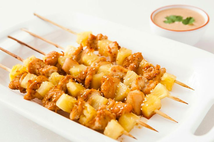 Pineapple chicken skewers with coconut peanut sauce? Um, yes, please ...