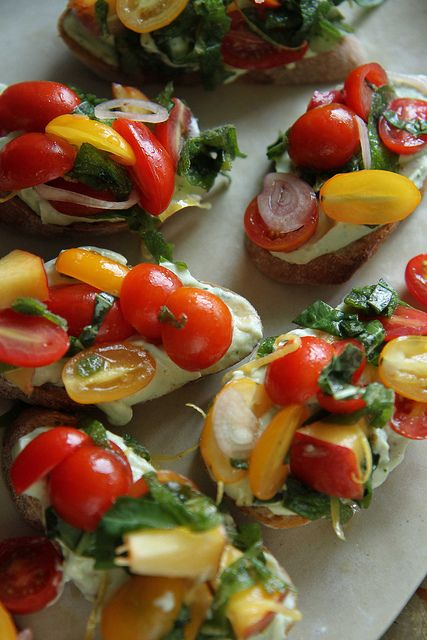 Peach Tomato Crostini with Lemon Basil Ricotta by Heather Christo