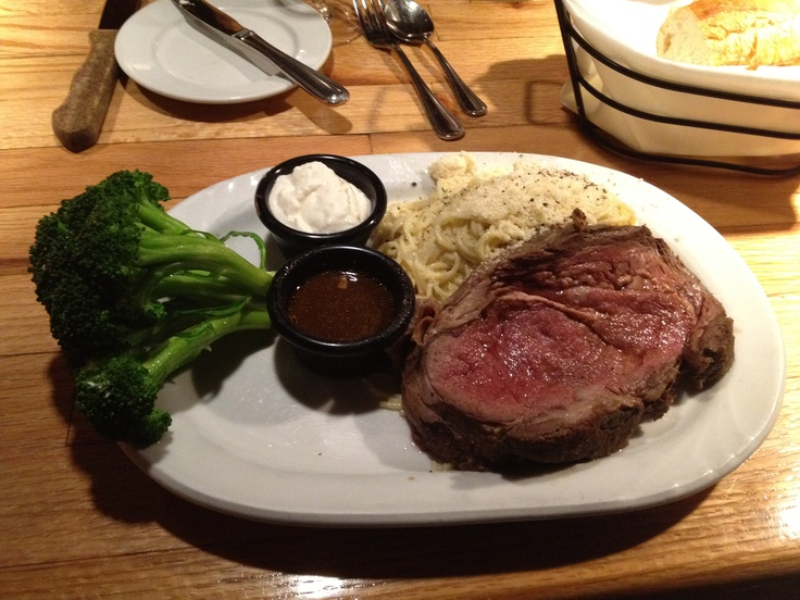 Rib (slow roasted Prime Rib, with white sauce and broccoli with Au jus ...