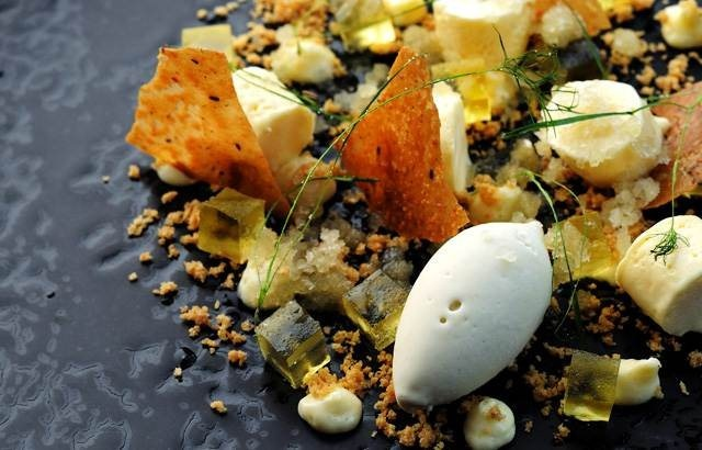 Yum! Lemon parfait, fennel pollen ice cream, fennel granita, and olive ...