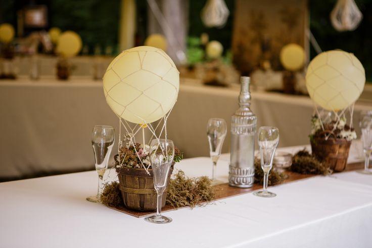 Hot air balloon centerpieces wedding reception