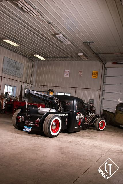 Mike Boyer's 1937 Ford Wrecker rat rod, the Spider Wrecker, was featured in Rat Rod Magazine issue 6 in March 2011. This truck has a hand built frame under it, a sweet flathead V8, and a custom-made tow truck boom out back.