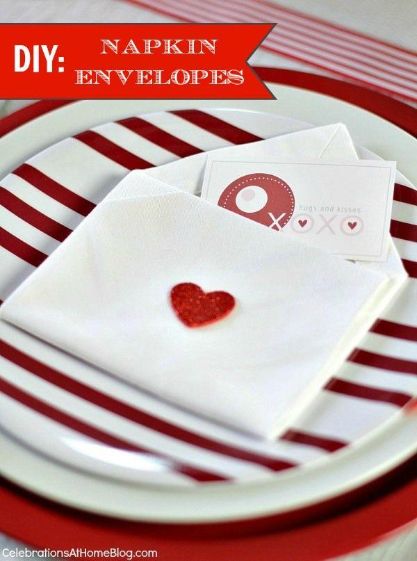 VALENTINE'S DAY NAPKIN ENVELOPES #diy #valentinesday