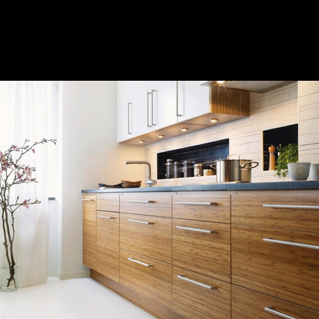 Bamboo kitchen cabinets modern a frame ideas pinterest for Bamboo kitchen cabinets