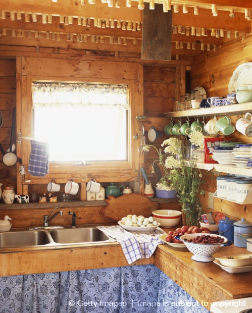 Rustic Blue Kitchen Cabinets