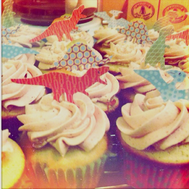White cupcakes with strawberry meringue buttercreme icing. also ...