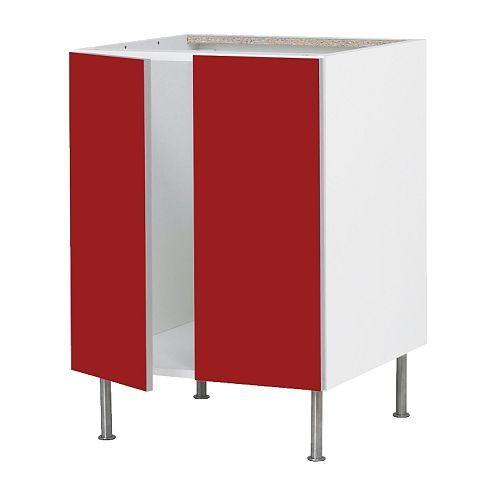 Spülbecken Unterschrank Ikea ~ FAKTUM Base cabinet for sink + 2 doors  Abstrakt red, 60 cm  IKEA