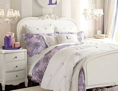 Luxury bedroom ideas for teenage girl using purple accent on bedding set lilac flower burst - Purple bedroom for girls ...