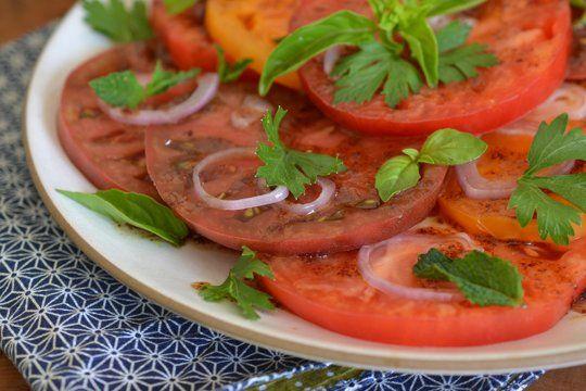 Heirloom Tomato Salad with Pomegranate-Sumac Dressing   Recipe
