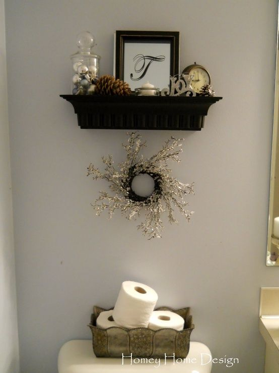 Box and shelf above toilet home decor pinterest for Bathroom decor above toilet
