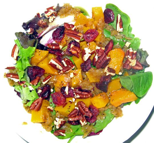 Maple Roasted Butternut Squash Salad with Apple Dressing Recipe