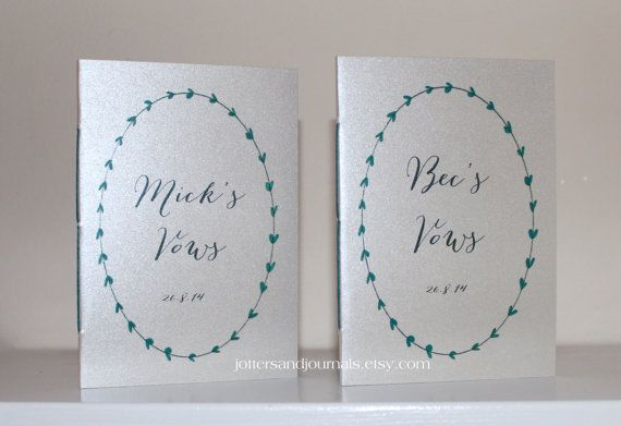 Metallic shimmer wedding vow books his and her vow books