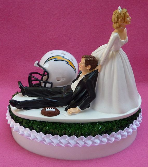 Wedding Cake Topper San Diego Chargers SD Football Themed Sports Turf