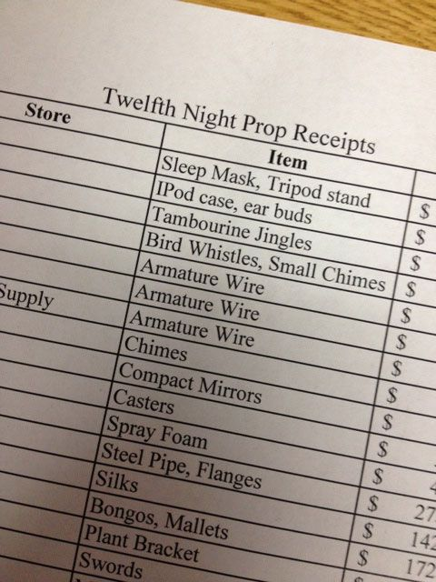 Swords, spray foam, earbuds, and bongos: It's the #TwelfthNight prop list!