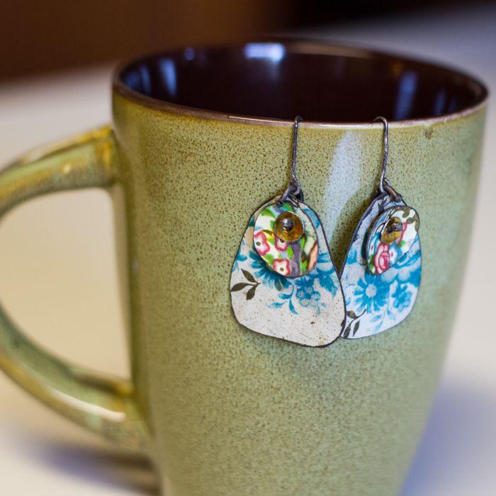 Vintage tea tin earrings earrings pinterest