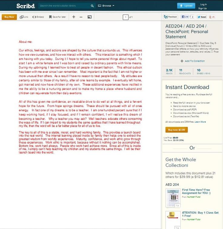 work personal statement