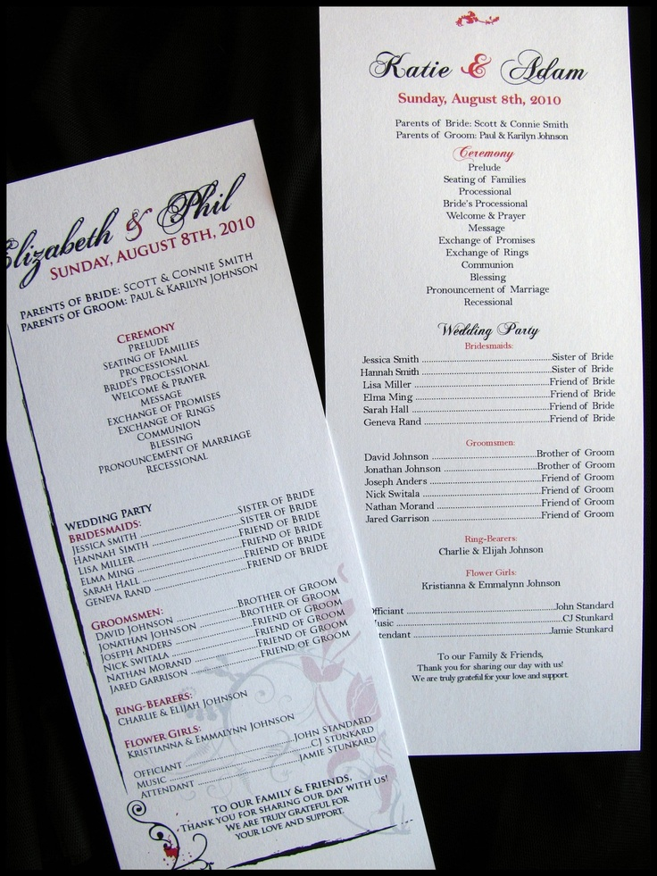 Custom Wedding Ceremony Programs By RunkPock Designs Printed Or DIY