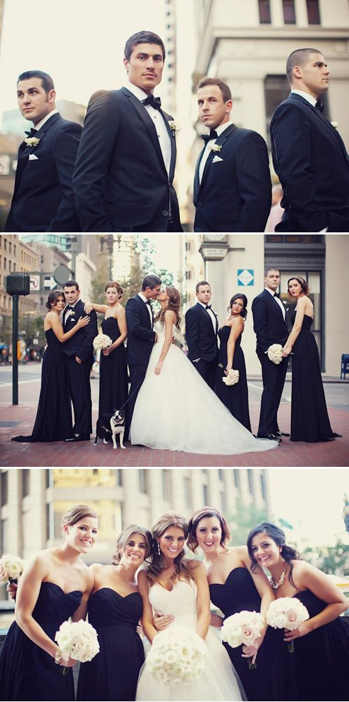 dark bridesmaid dresses make the bride stand out so nicely