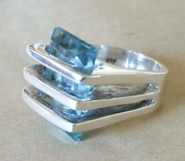 maria elena munoz modernist sterling silver blue crystal