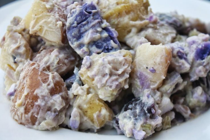 Patriotic Potato Salad - Classic American potato salad with red, white ...
