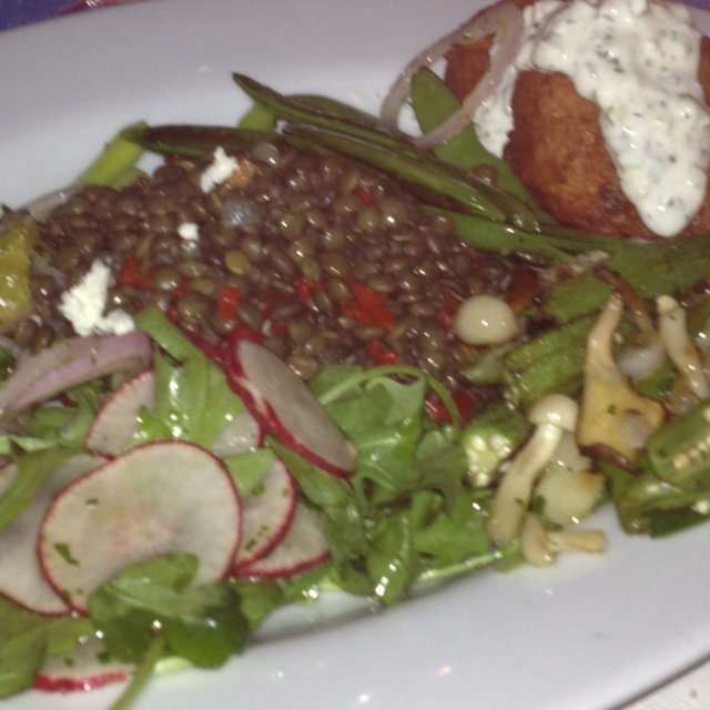 Vegetable plate--lentil salad with feta; chickpea fritters with ...