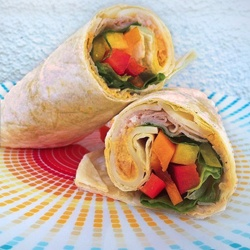 Turkey and Hummus wrap, fresh, crisp and cool for summer nights