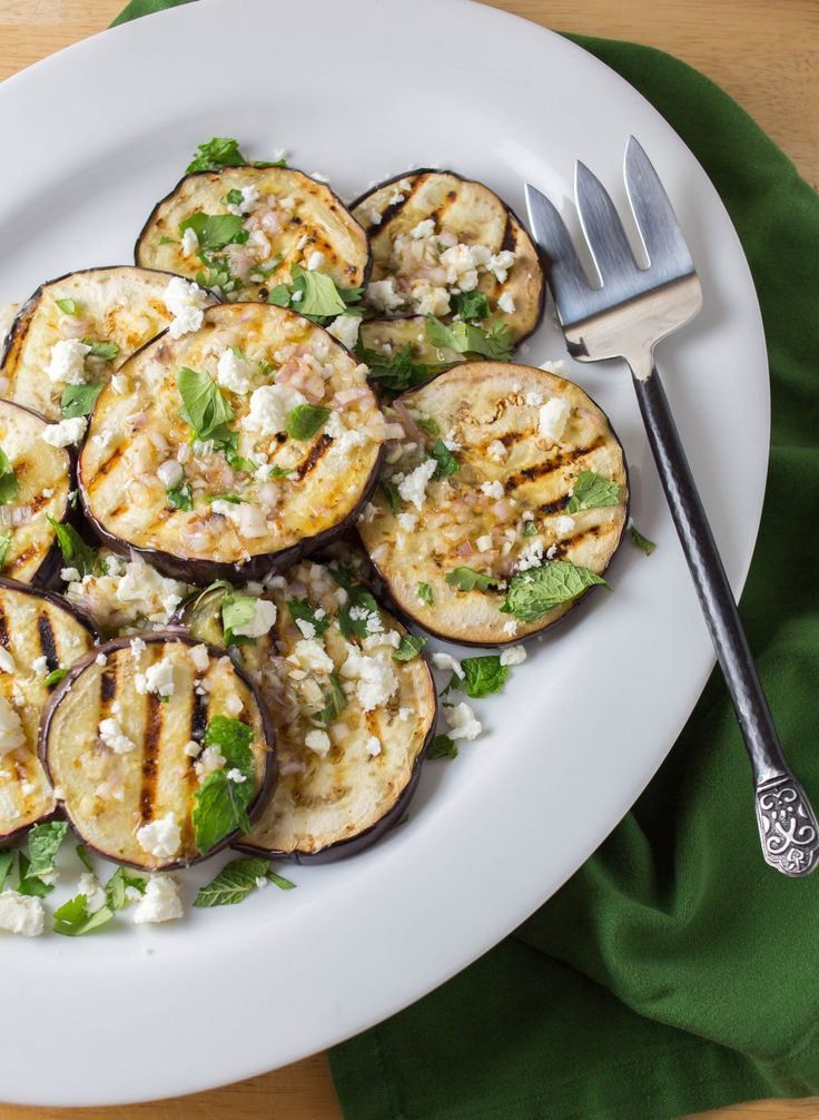 grilled eggplant with garlic-cumin vinaigrette, feta, herbs ...