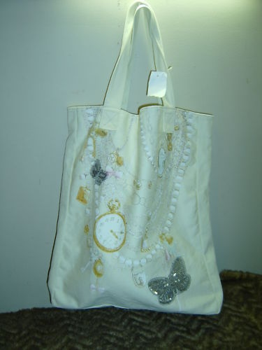 New cream colored butterflies and chains tote bag | eBay
