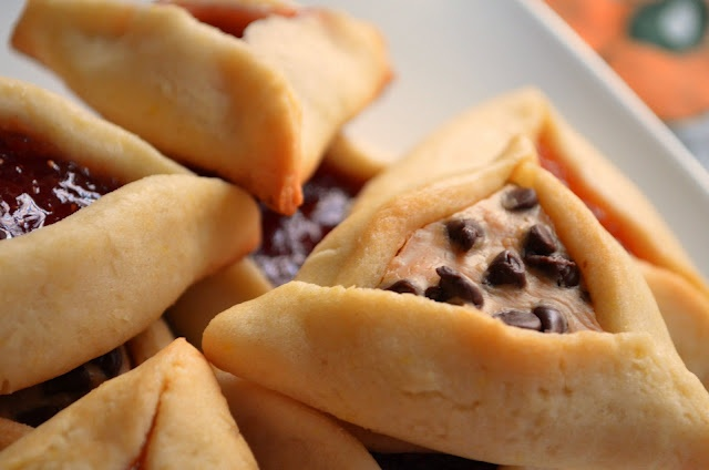 fill hamantaschen with peanut butter and chocolate chips - yummmmm!