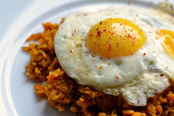 Fried Eggs with Sweet Potato Hash. Image only. Link here: http://www ...