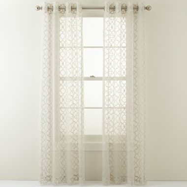 White pattern curtains for the home pinterest for Patterned sheer curtain panels