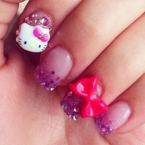 Purple  hello Kitty  and bow   Nail Art     0     Pinterest