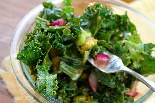 Kale, edamame & avocado salad with sriracha lime dressing