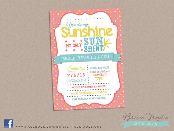 baby shower invitation you are my sunshine